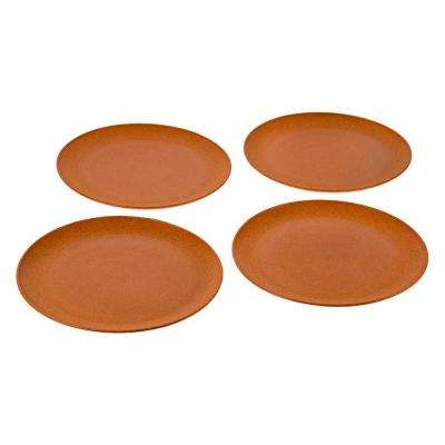 EVO Sustainable Goods 10 in. Orange Eco-Friendly Wood-Plastic Composite Plate (Set of 4)