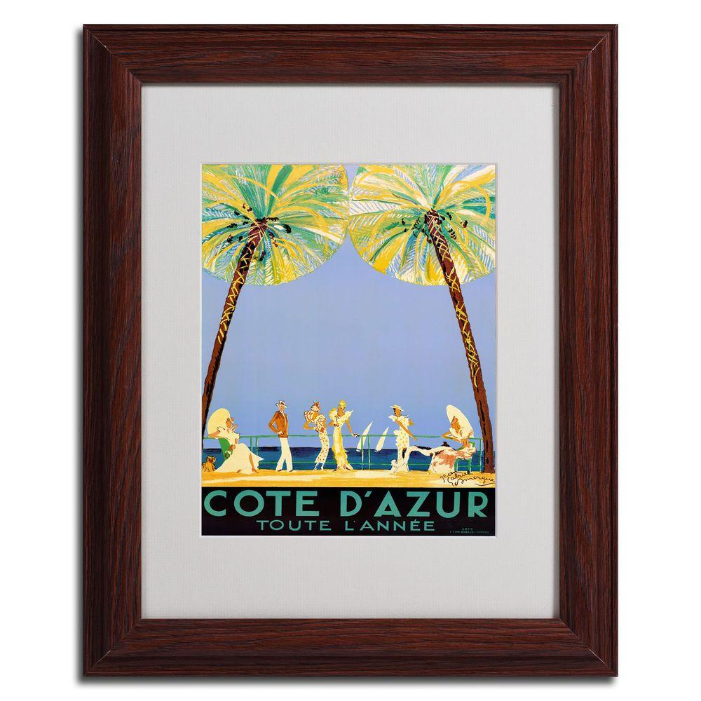 Trademark Fine Art 16 in. x 20 in. Cote D Azur Dark Wooden Framed Matted Art