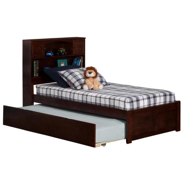 Atlantic Furniture Newport Walnut Twin Platform Bed with Flat Panel Foot