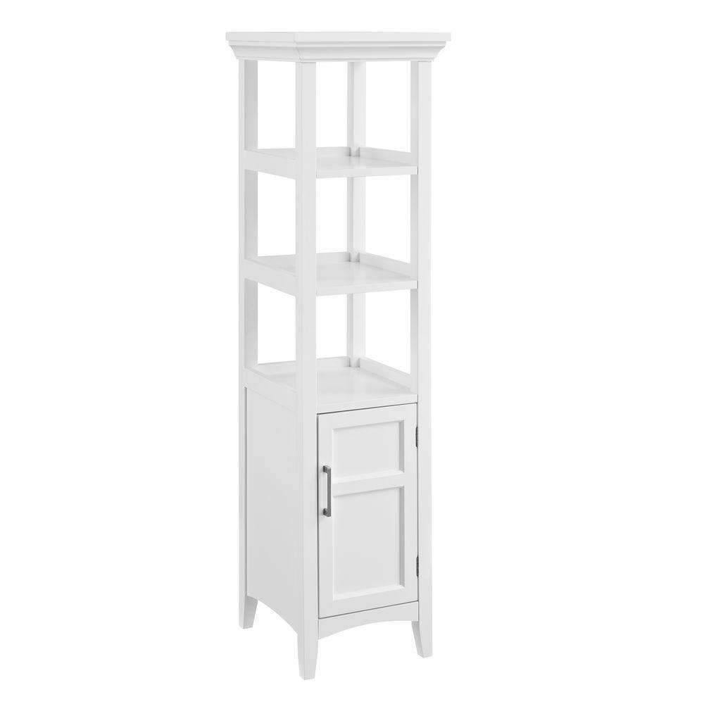 Bathroom tower shelf - Simpli Home 15 75 In W X 15 75 In D X 56 3 In Avington H Bathroom Linen Storage Tower Cabinet With 3 Open Shelves In White Axcbc 002 Wh The Home Depot