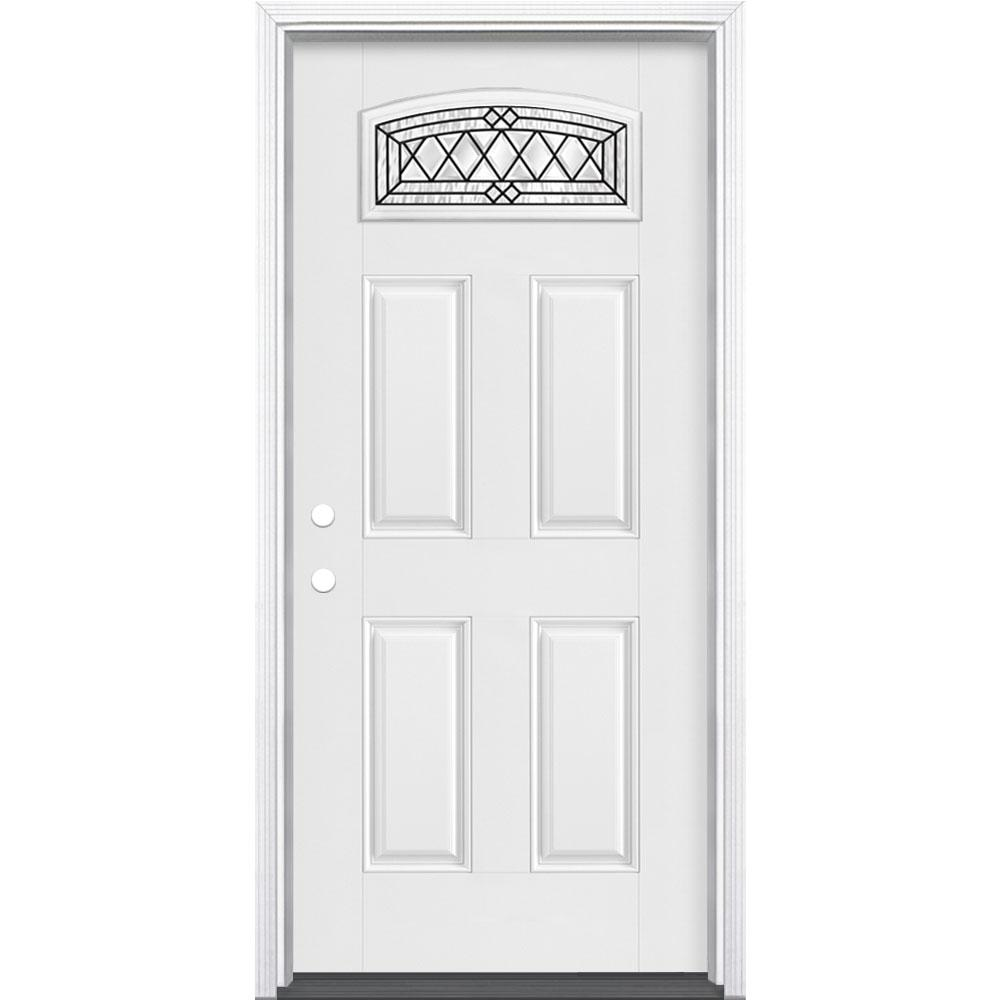 Masonite 36 in. x 80 in. Halifax Camber Fan Right-Hand Primed White Smooth Fiberglass Prehung Front Door w/ Brickmold,Vinyl Frame
