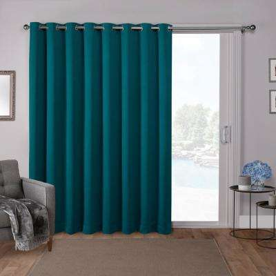 Sateen Patio 100 in. W x 84 in. L Woven Blackout Grommet Top Curtain Panel in Teal (1 Panel)