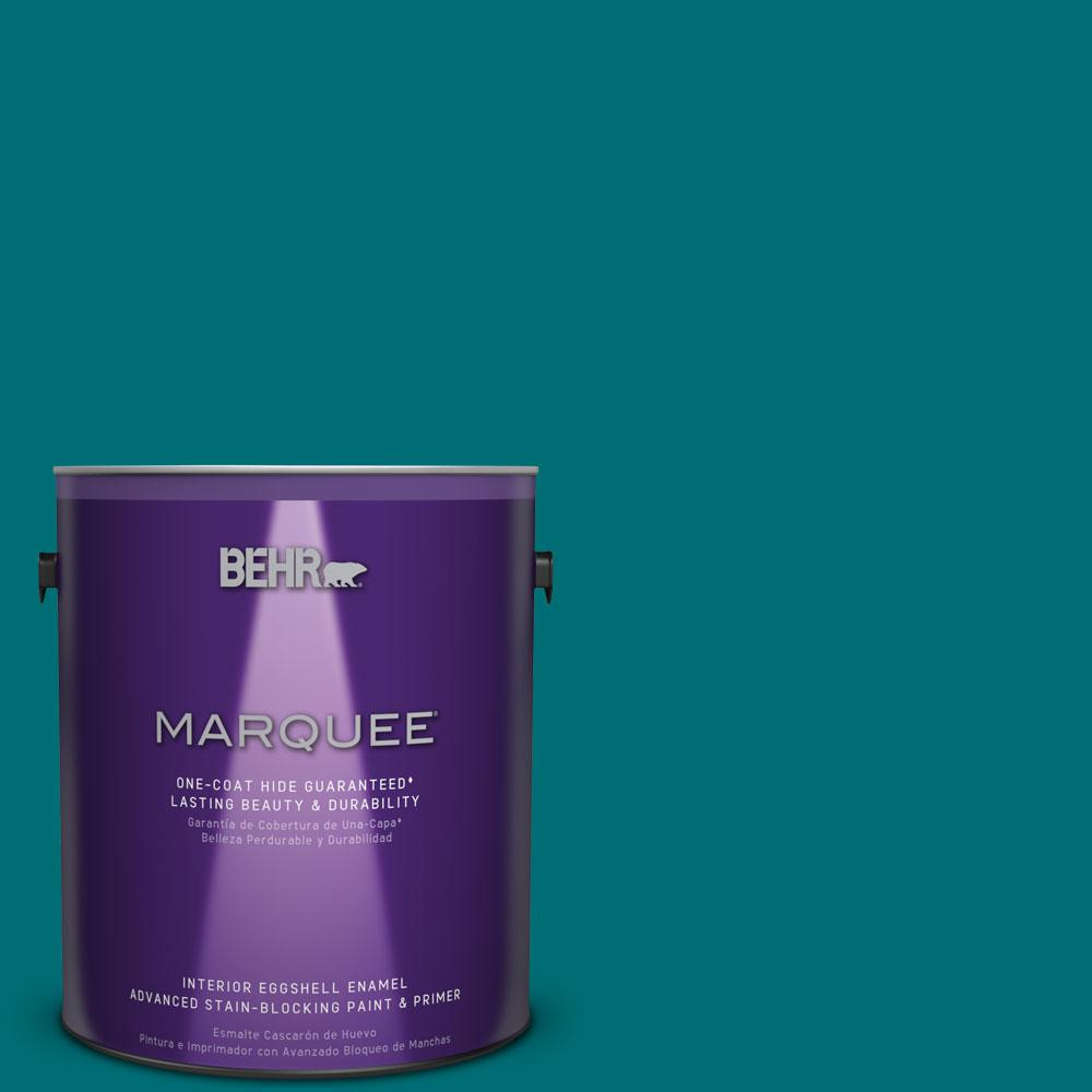 1 gal. #MQ6-35 Teal Motif One-Coat Hide Eggshell Enamel Interior Paint