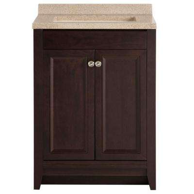 Delridge 24 in. W x 35 in. H x 19 in. D Bathroom Vanity in Chocolate with Solid Surface Vanity Top in Caramel