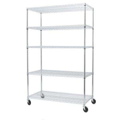 72 in. H x 48 in. W x 24 in. D 5-Tier Ultra-Zinc Steel Wire Shelving Unit