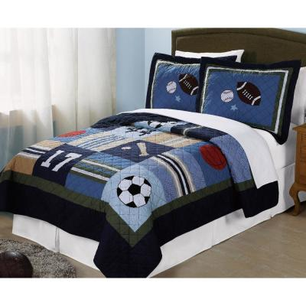 All State 3-Piece Blue Sports Queen Quilt Set