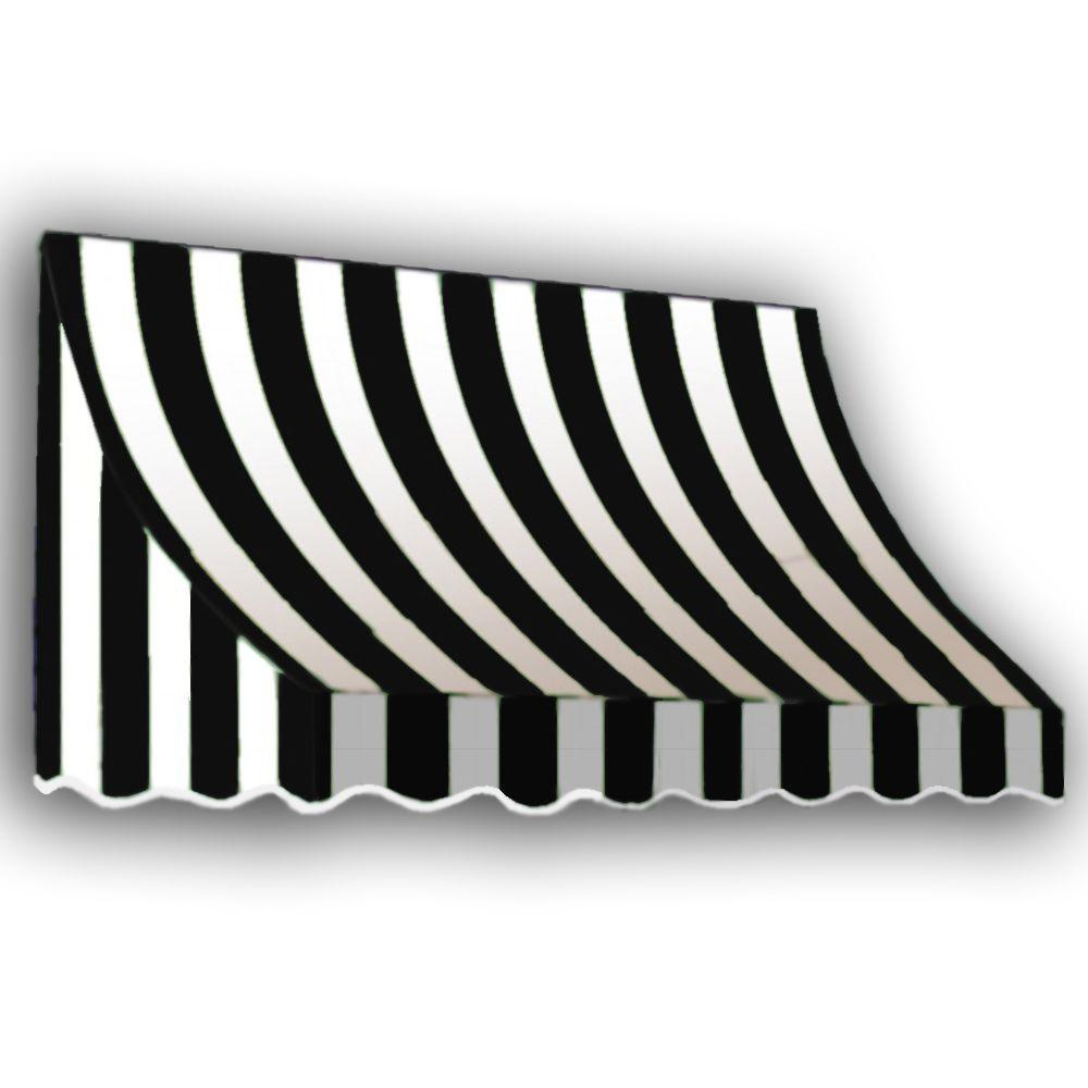 AWNTECH 12 ft. Nantucket Window/Entry Awning (31 in. H x 24 in. D) in Black/White Stripe