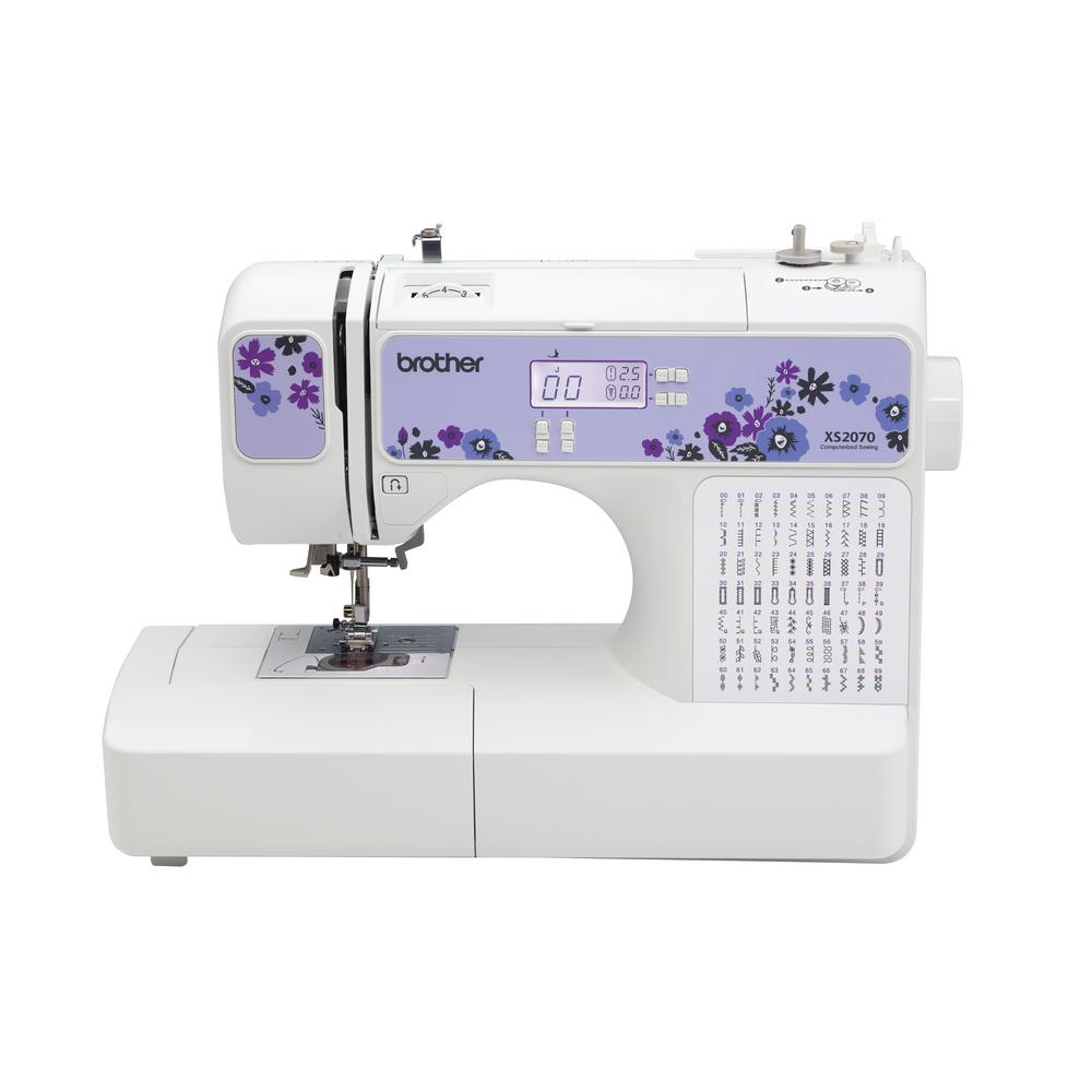 70-Stitch Computerized Sewing Machine, Light Purple The XS2070 features 70 unique built-in stitches, including 7 styles of 1-step buttonholes. Enjoy the versatility of the 7 accessory sewing feet and drop feed dogs for greater sewing flexibility. Designed for ease of use, the XS2070 features a large, backlit LCD display for easy viewing as well as a brightly lit LED work area. An advanced needle threading system, adjustable speed control and the Brother exclusive jam resistant, Quick-Set drop in top bobbin make sewing fun and easy. Color: Light Purple.