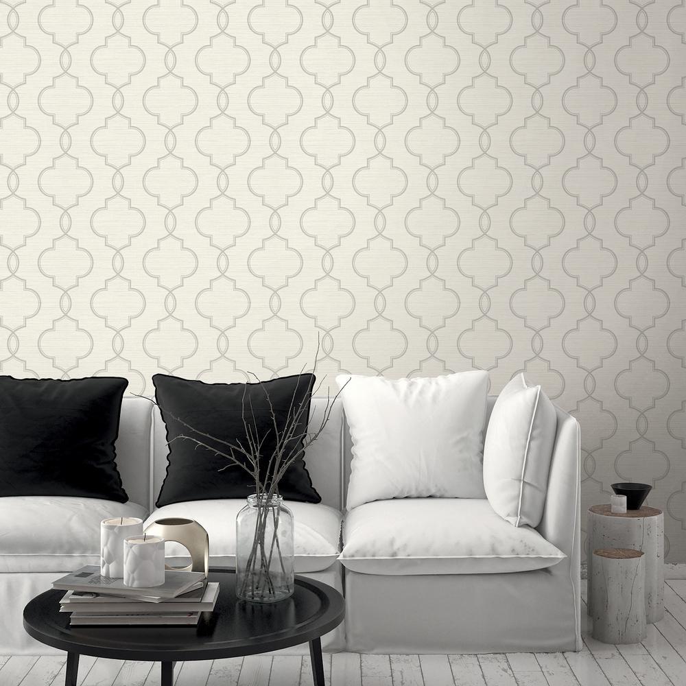 60.8 sq. ft. Malo Light Grey Sisal Ogee Wallpaper