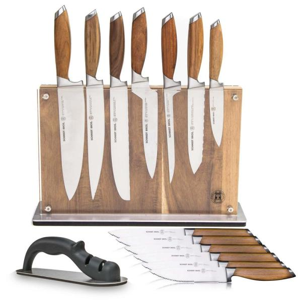 15-Piece Stainless Steel Cutlery Bonded Teak Set with Acacia Downtown Knife Block
