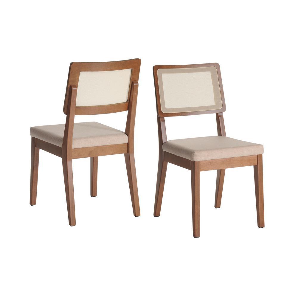 Pell 2-Piece Dark Beige and Maple Cream Dining Chair