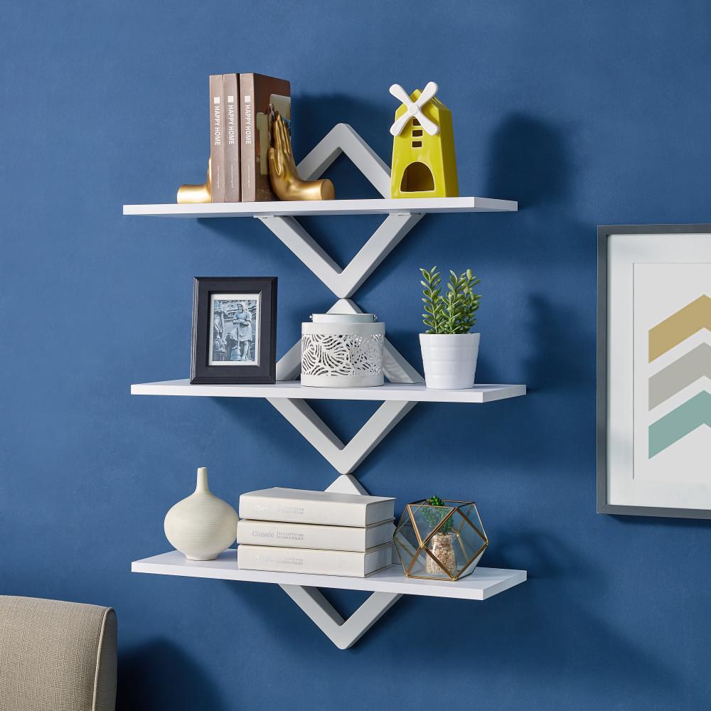 3-Shelf 27.5 in. x 10 in. White Diamonds Wall Mount Decorative Shelving Unit
