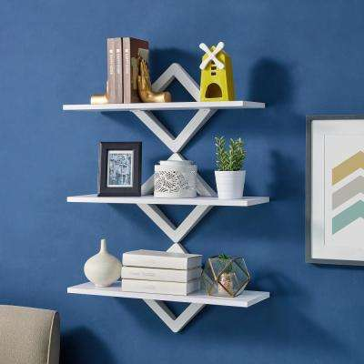 3-Shelf 27.5 in. x 10 in. White Diamonds Wall Mount Decorative Shelving Unit