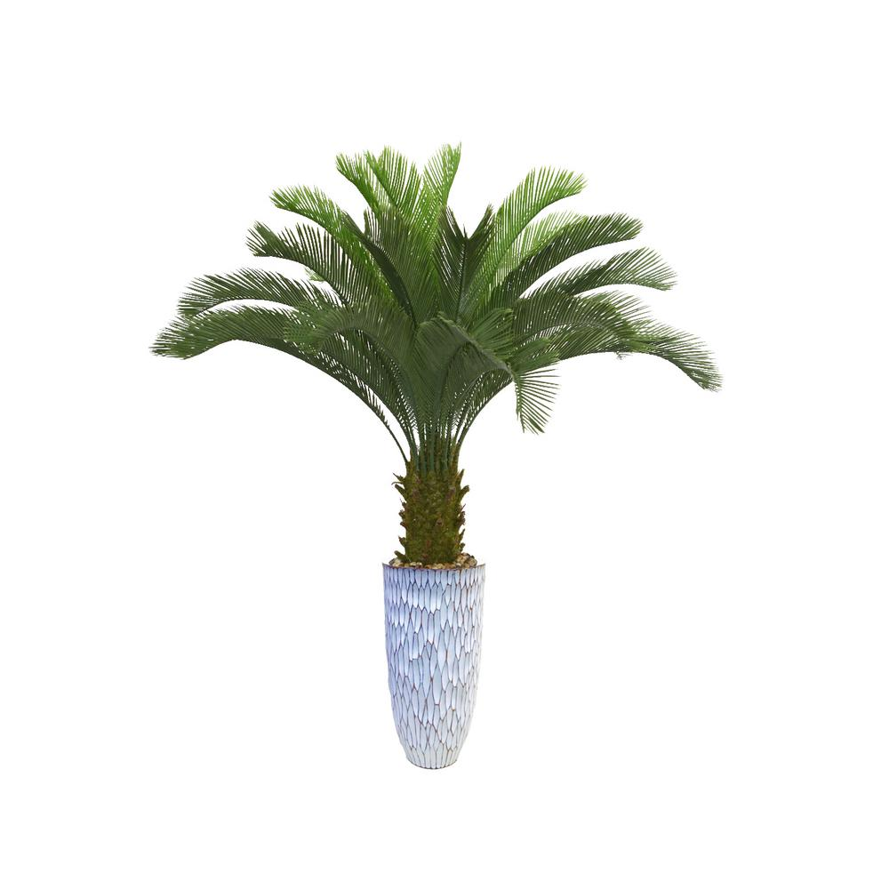 67.5 in. Palm Tree Artificial Faux Dcor in Resin Planter