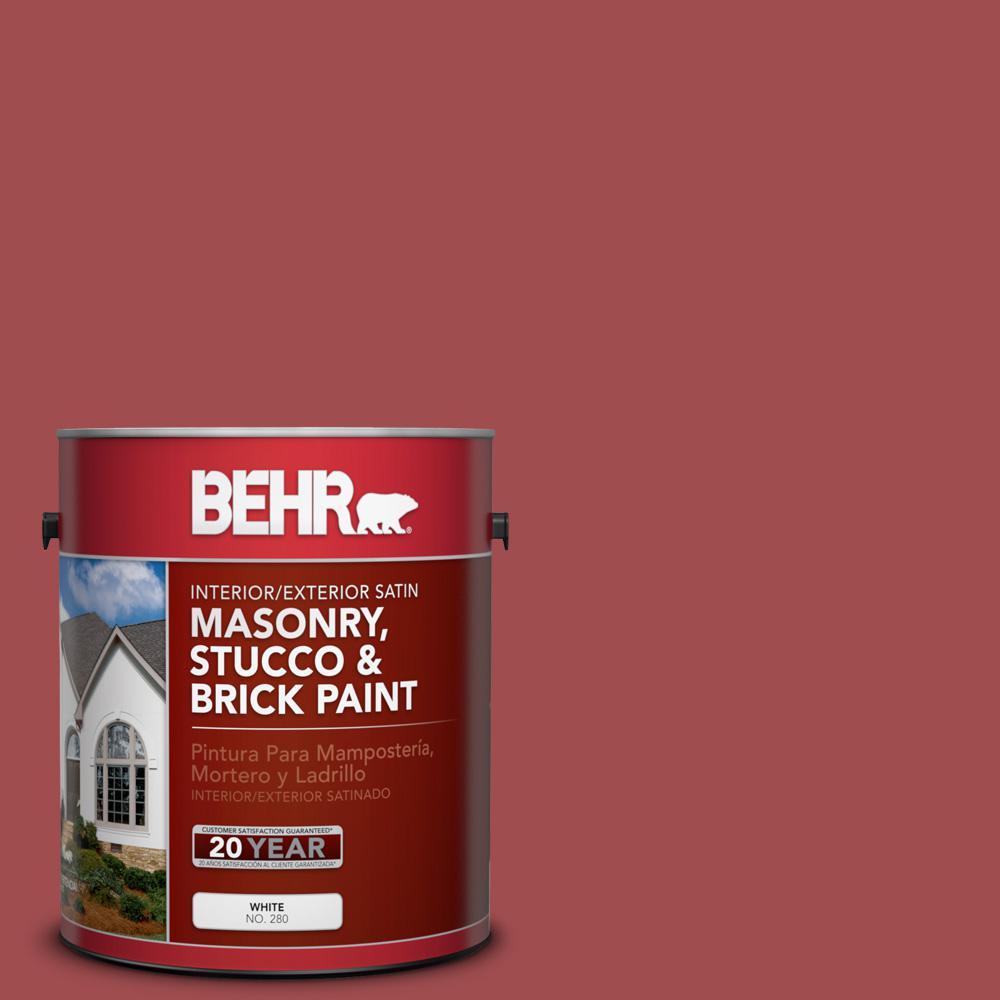 1 gal. #M150-7 Sweet Cherry Satin Interior/Exterior Masonry, Stucco and Brick Paint