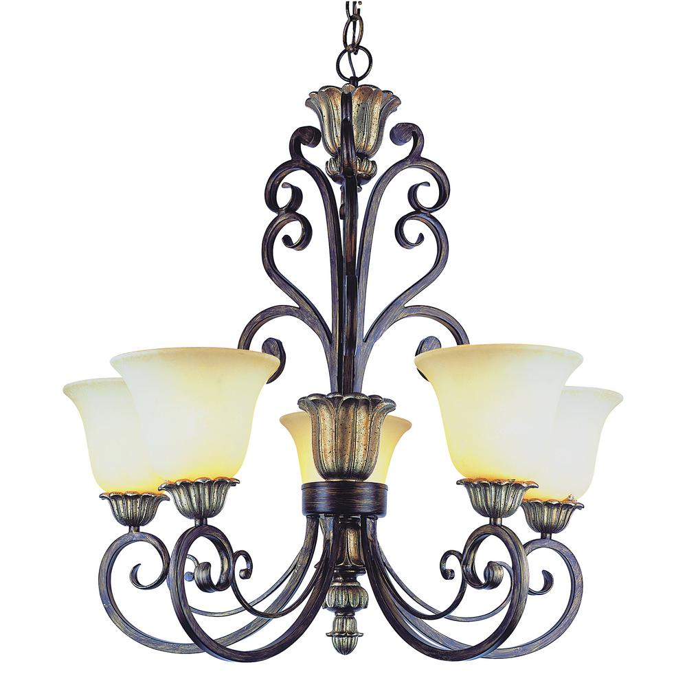 Bel Air Lighting Seville 5 Light Ebony Gold Chandelier With Frosted Champagne Shade
