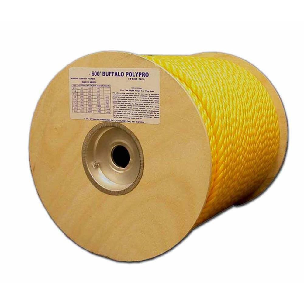 1/4 in. x 600 ft. Buffalo Twisted Polypro Rope in Yellow