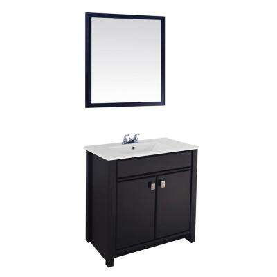 30 in. W x 19 in. D Vanity in Chocolate with Ceramic Vanity Top in White with White Basin and Mirror