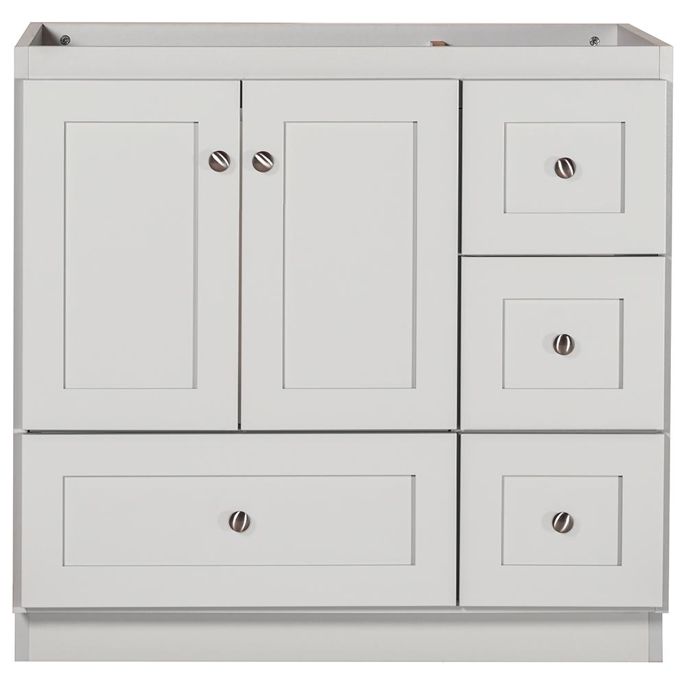 Shaker 36 in. W x 21 in. D x 34.5 in. H Bath Vanity Cabinet Only with Right Drawers in Dewy Morning