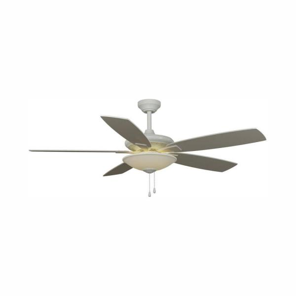 Menage 52 in. Integrated LED Indoor Low Profile White Ceiling Fan with Light Kit