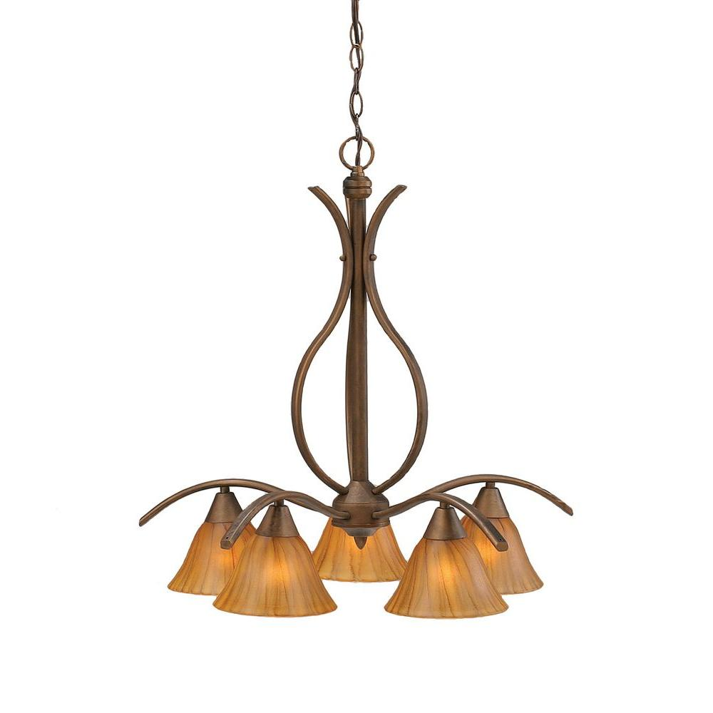 Filament Design Concord 5-Light Bronze Chandelier with Tiger Glass Shade