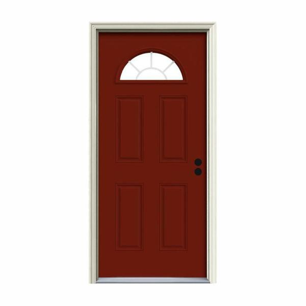 36 in. x 80 in. Fan Lite Mesa Red Painted Steel Prehung Left-Hand Inswing Front Door w/Brickmould