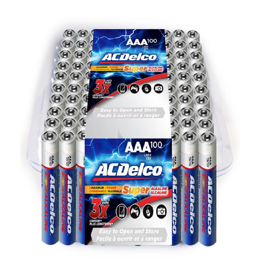 ACDelco 100 of AAA Super Alkaline Battery with Recloseble Box