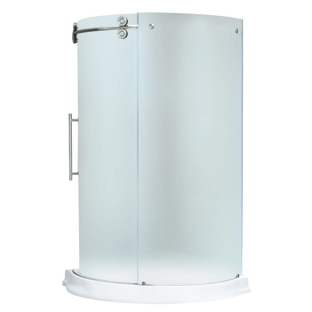 Vigo 43.625 in. x 43.625 in. x 74.625 in. Frameless Bypass Shower Enclosure in Stainless Steel and Frosted Glass