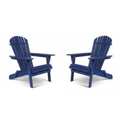 Classic Navy Blue Oceanic Folding Wood Adirondack Chair (2-Pack)