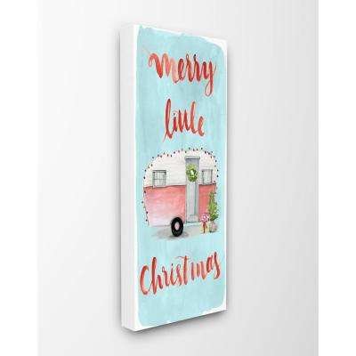 "10 in. x 24 in. ""Merry Little Christmas Trailer with Lights"" by Artist Jennifer Paxton Parker Canvas Wall Art"