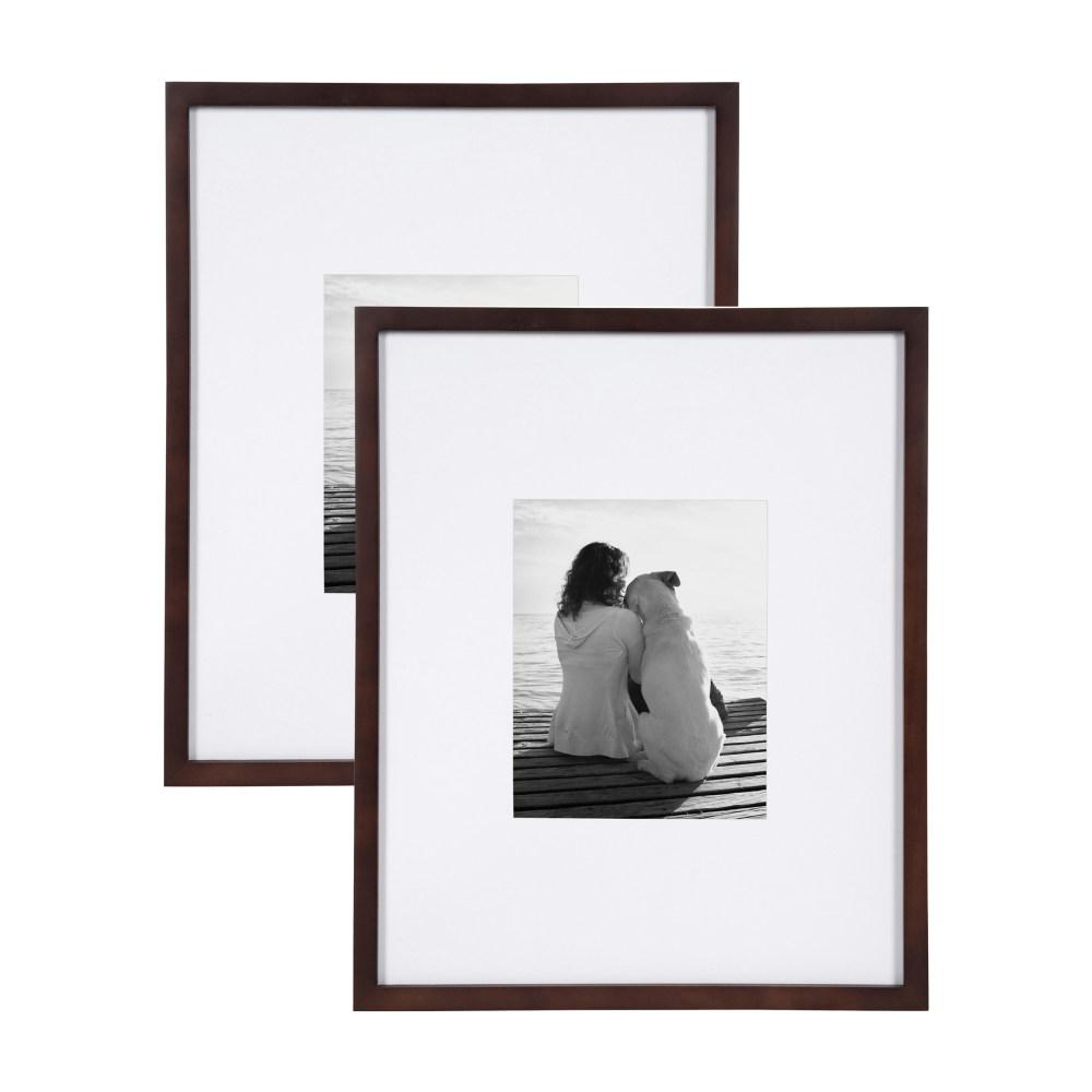 Gallery 16x20 matted to 8x10 Walnut Brown Picture Frame Set of
