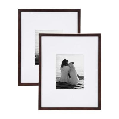 Gallery 16x20 matted to 8x10 Walnut Brown Picture Frame Set of 2