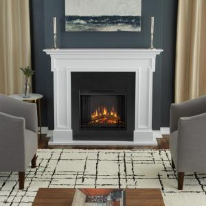 Real Flame Thayer 54 inch Electric Fireplace in White by Real Flame