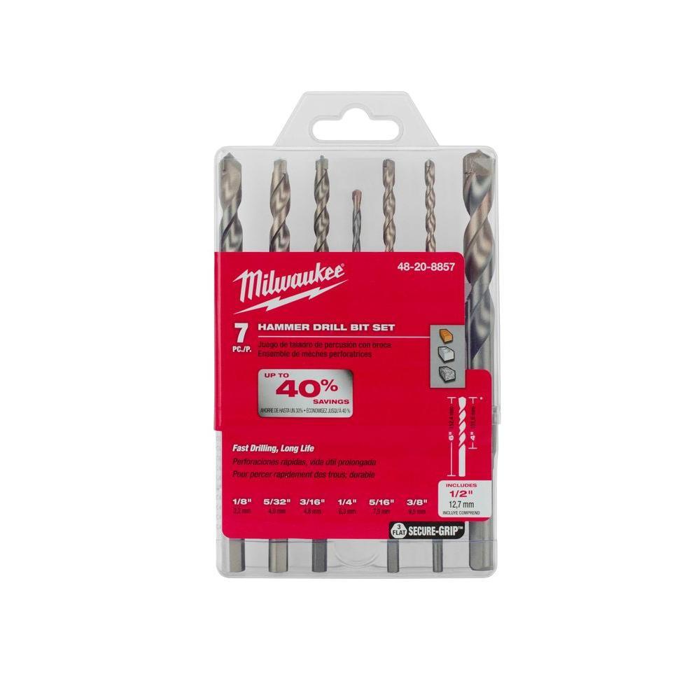 Milwaukee Carbide Hammer Drill Bit Kit (7-Piece) by Milwaukee