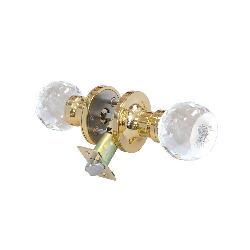 Krystal Touch of NY Love Rose Crystal Brass Privacy Door Knob with LED Mixing Lighting Touch Activated