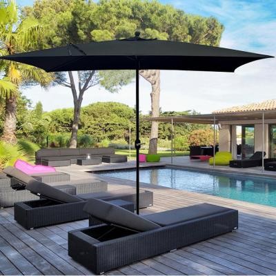 10 ft. Powder-Coated Rust-Free Aluminum Crank Market Outdoor Patio Umbrella in Black