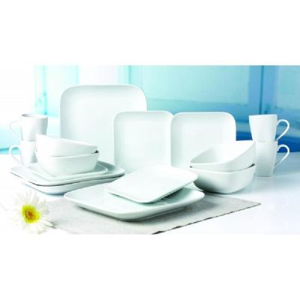 16-Piece Classic Square White Porcelain Dinnerware Set (Service for 4)