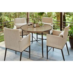 Hampton Bay Fenton 3 Piece Patio High BarBistro Set with Peacock