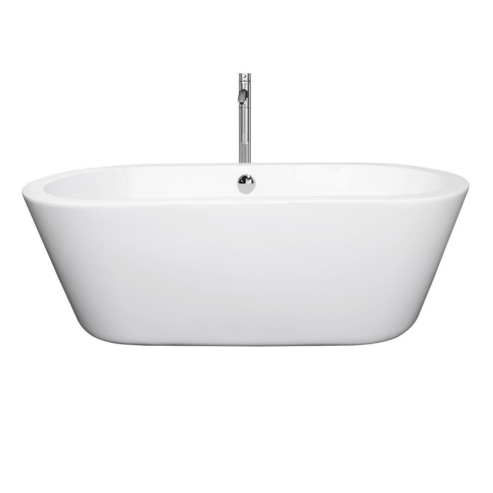 Wyndham Collection Mermaid 67 in. Acrylic Flatbottom Center Drain Soaking Tub in White with Floor Mounted Faucet in Brushed Nickel