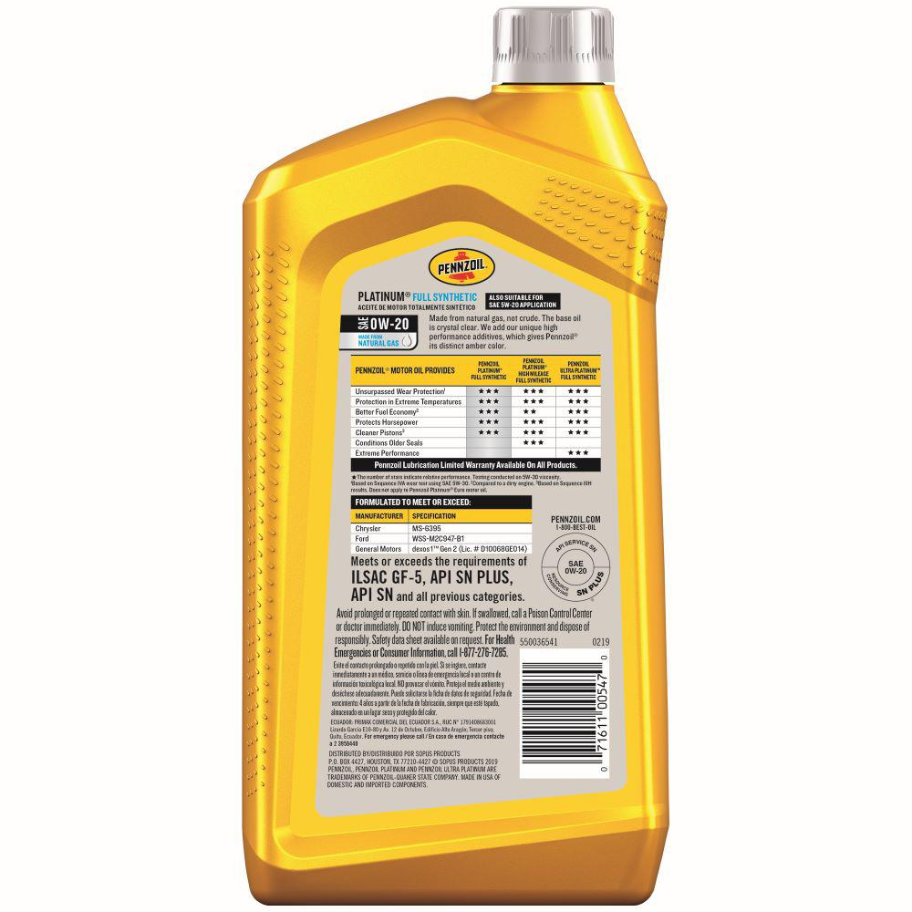 Pennzoil Near Me >> Pennzoil 1 Qt Sae 0w 20 Platinum Full Synthetic Motor Oil