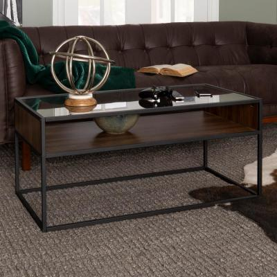 40 in. Dark Walnut/Black Medium Rectangle Glass Coffee Table with Open Shelf