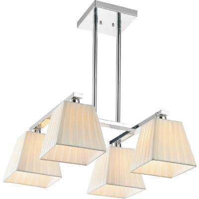 Tilly 4-Light Chrome Chandelier with Beige shade
