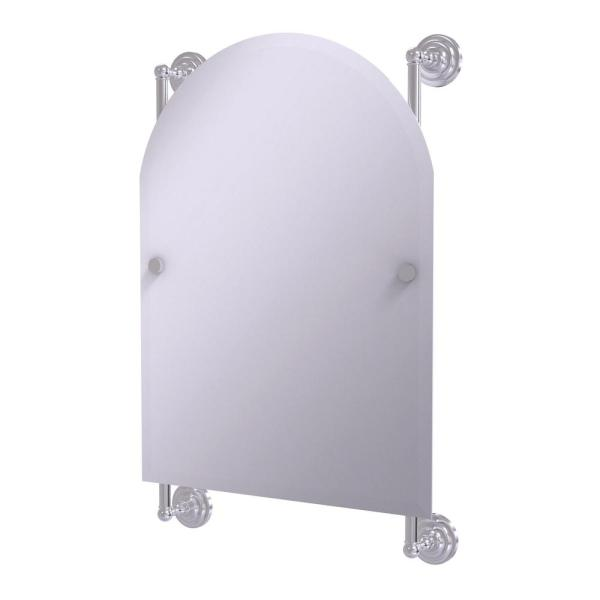Prestige Que New Collection Arched Top Frameless Rail Mounted Mirror in Satin Chrome
