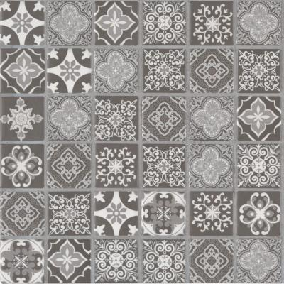 Anya Charcoal Encaustic 12 in. x 12 in. x 6mm Glossy Ceramic Mesh-Mounted Mosaic Tile (14.55 sq. ft./case)