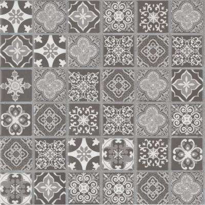 Anya Charcoal Encaustic 12 in. x 12 in. x 6mm Glazed Ceramic Mesh-Mounted Mosaic Tile (14.55 sq. ft./case)