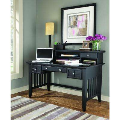 Arts and Crafts Black Desk with Hutch