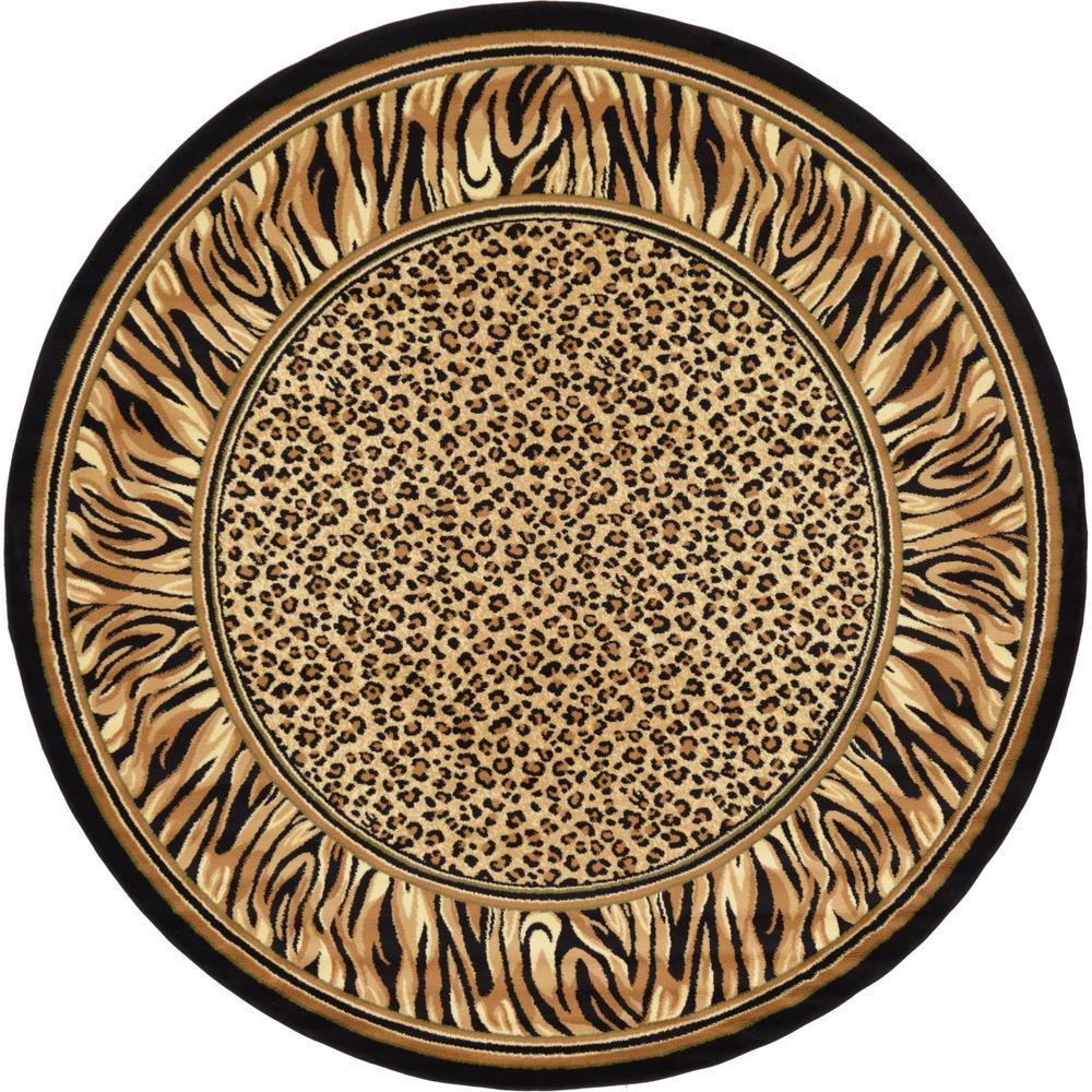 Wildlife Light Brown 8 X Round Rug
