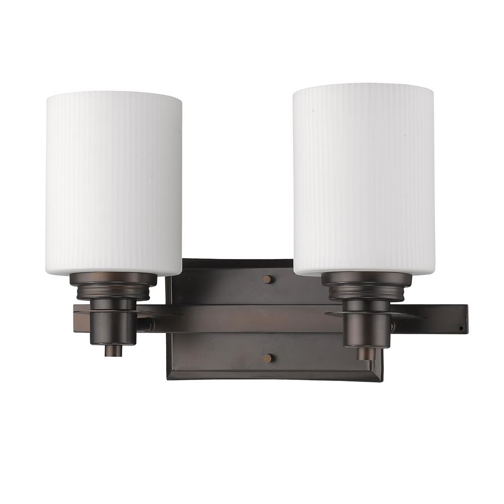 Acclaim Lighting Amelia 2-Light Oil-Rubbed Bronze Vanity Light with Ribbed Glass Shades