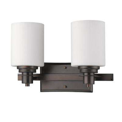 Amelia 2-Light Oil-Rubbed Bronze Vanity Light with Ribbed Glass Shades
