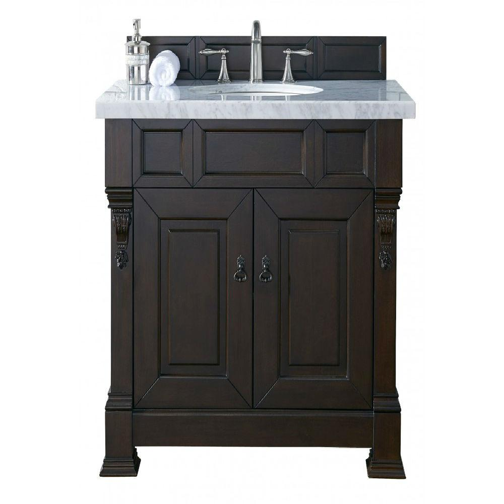 James Martin Signature Vanities Brookfield 36 in. W Single Vanity in Burnished Mahogany with Marble Vanity Top in Carrara White with White Basin